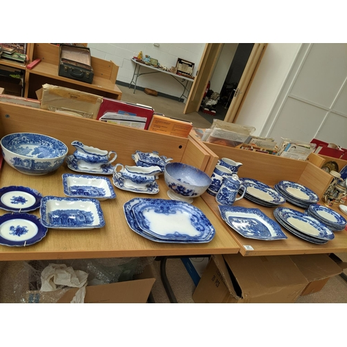 31 - A large quantity of blue and white china including Copeland etc....