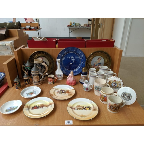 32 - Steins, Royal Doulton plates, Aynsley etc....