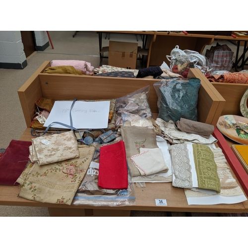 36 - A selection of antique fabrics- 18th century- lace etc....