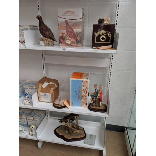 60 - Three shelves of mixed fine china figurines etc including : Border Fine Arts ' Ladies Of The Stream'...