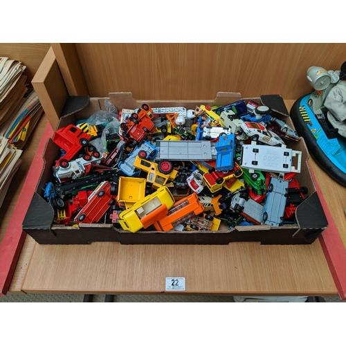 22 - A large quantity of playworn vehicles including Corgi, Matchbox etc....