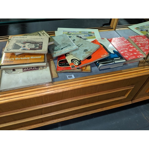 480 - Vintage car manuals, handbooks including Austin, Aston Martin etc....