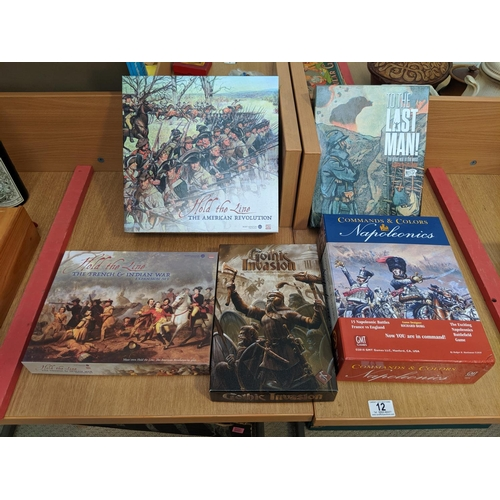 12 - Historical board games including Comman and colours, Napoleonics, To The Last Man, Hold The Line Ame...