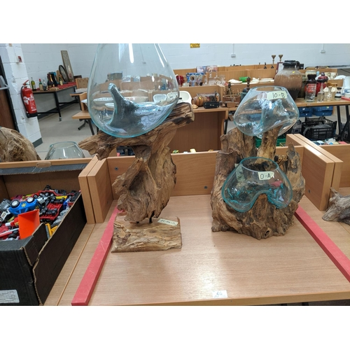 46 - Two hand blown molten glass and wood root sculpture terrarium/vases...