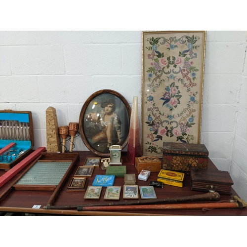 5 - Vintage items including washboard, walking sticks, picture etc....