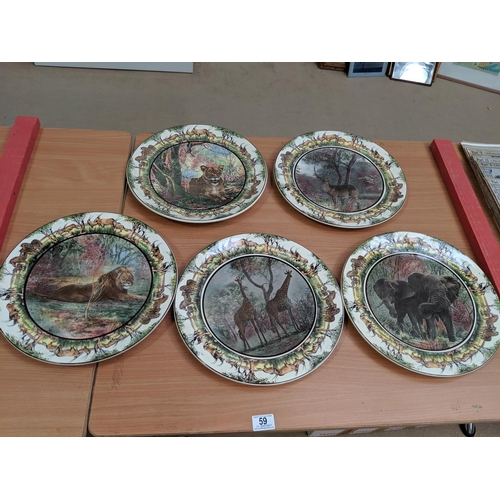 59 - 5 x Royal Doulton African series- chargers/large plates - 13 1/2 inches - D6365,D6360,D6368, D6369, ...