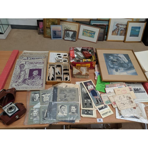 60 - Vintage items including slides of paintings, vintage cigarette boxes, mouth organs, Edward VII magaz...