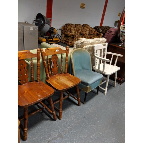 729 - A lloyd loom style chair, two wooden chairs and a painted chair...