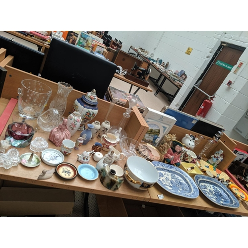 10 - Mixed crystal, glass and china including Burslem, Crown Ducal, Wedgwood etc....