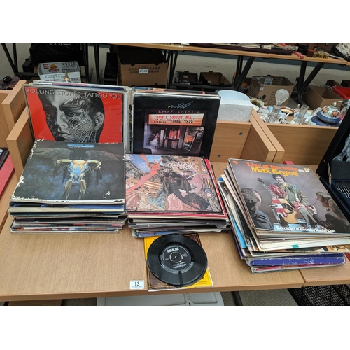 13 - A quantity of vinyl LP's to include Rolling Stones, Kansas, Beatles etc....