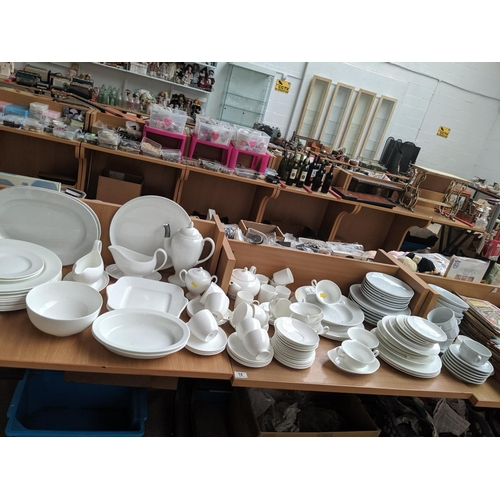 18 - A quantity of white crockery to include Wedgwood and Terence Conran...