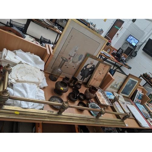 2 - Linen, pictures, metalware ,brass fire fender, tea cards etc....