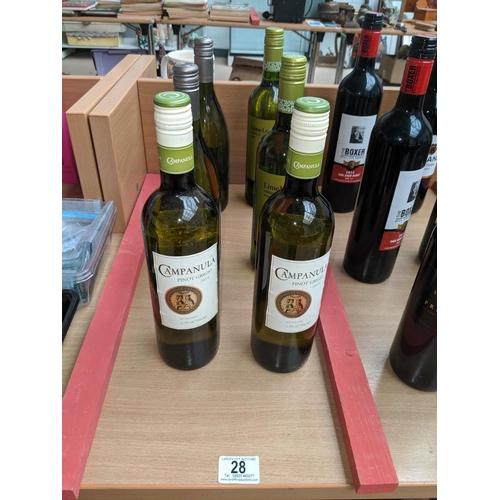 28 - Six bottles of white wine including Pinot Grigio etc....