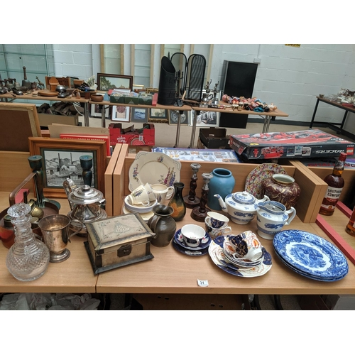 31 - A quantity of china, glass, silver plate and metalware...