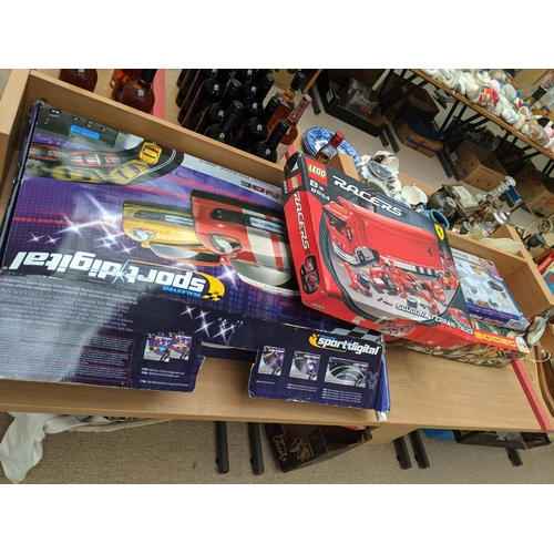 35 - A Scalextric lane change challenge car racing set, Lego Ferrari truck, Airfix D Day 60th anniversary...