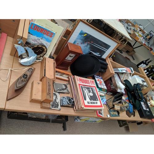 36 - Vintage items including ephemera, Concorde picture, scout hats, teasmaid...