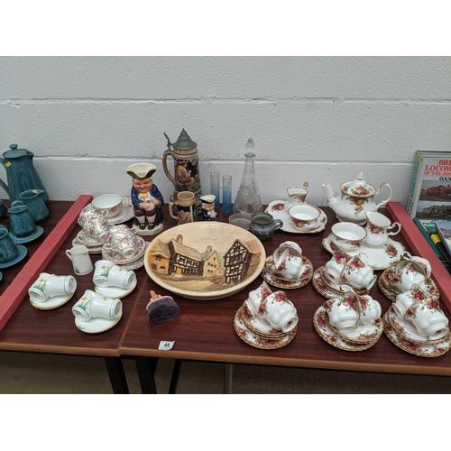 46 - Royal Albert' Old Country Roses' tea set, glassware etc,...