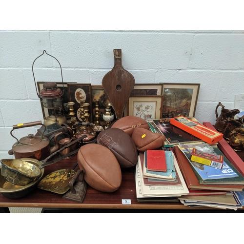 5 - Vintage items including brass, copper, ephemera etc....