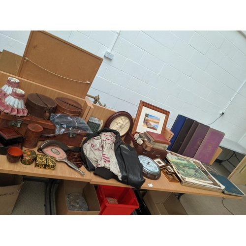 7 - Mixed miscellaneous items including vintage leather jacket, barometer, pictures and old illustrated ...
