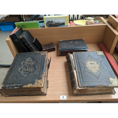 8 - A leather bound illustrated bible, leather bound Welsh bible plus other bibles etc....