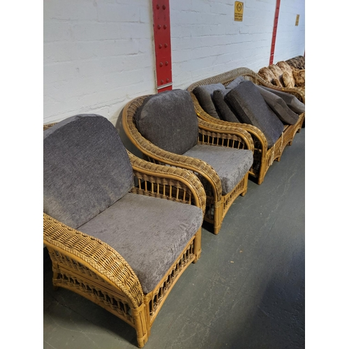 691 - A pair of conservatory chairs and a 3 seater settee...