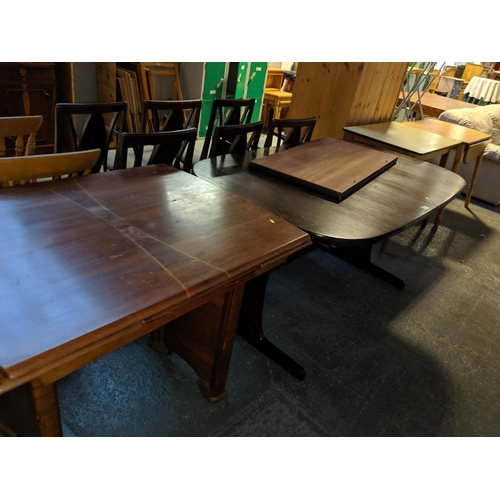 706 - Four dining tables, oak, formika and pine...
