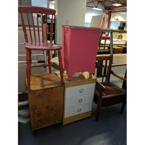 712 - A commode chair, bedside cabinet etc....