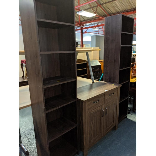 713 - Two modern bookshelves and a sideboard...