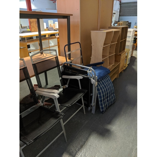 716 - Deck chairs, shelving untis, 3 drawer bedside cabinet etc....