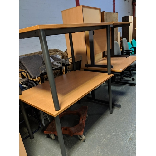 720 - Three office tables and a office desk...