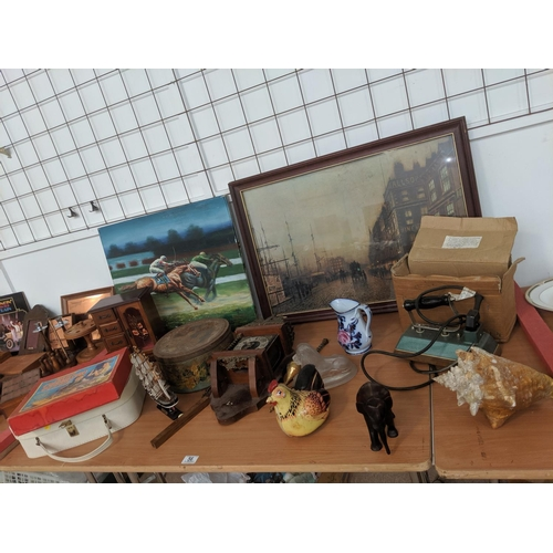 56 - Vintage items including racing oil painting, dutch clock (for repair), Dowsings iron etc....