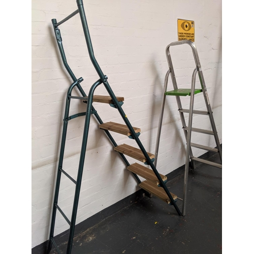 770 - A set of metal and wood step ladders and a small set of aluminium step ladders...