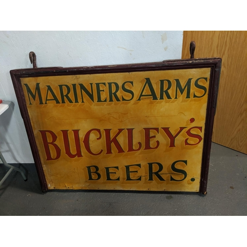 241 - An original hanging double sided pub sign Mariners Arms, Buckleys Beers...