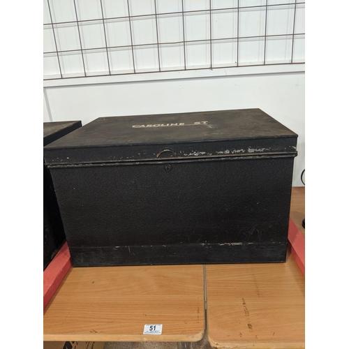 51 - A large deed box stamped ' Caroline Street'...
