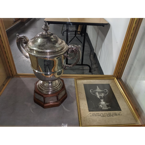 477 - A large hallmarked silver trophy - S A Brain Welsh league challenge cup winners on plaques on the ba...