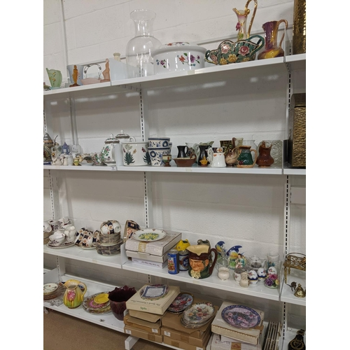 71 - 8 shelves of mixed glass and china including crested ware...