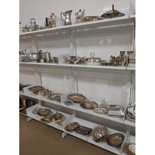 72 - 8 shelves of silver plated items etc...