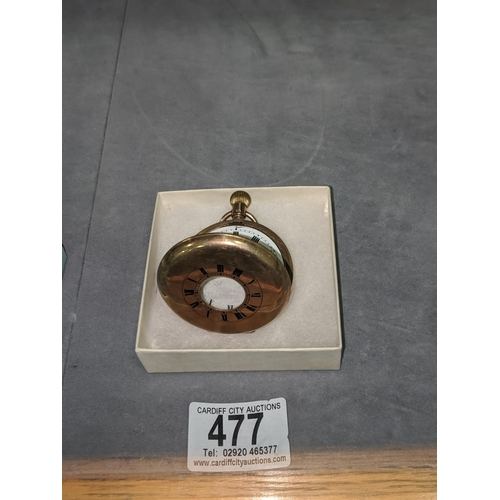 477 - A 9K gold Half Hunter pocket watch (requires attention) total weight including movement is 95grams...