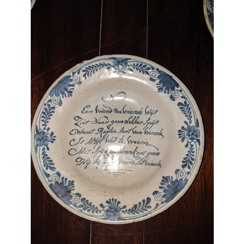 492 - Five early 18th century Dutch Delft plates, numbered 1 to 5 and each with a different verse relating...