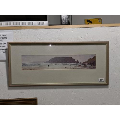 497 - A Gareth Thomas original watercolour 'The Beach, Marloes' - Welsh artist...