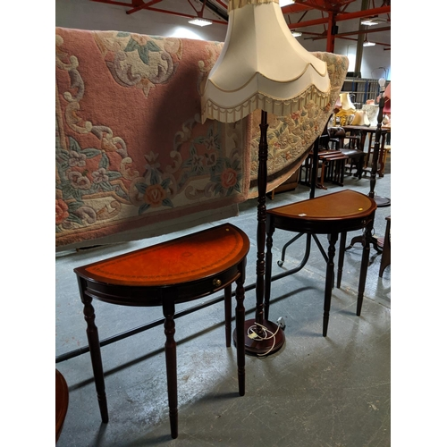 791 - Two consol tables and a standard lamp...