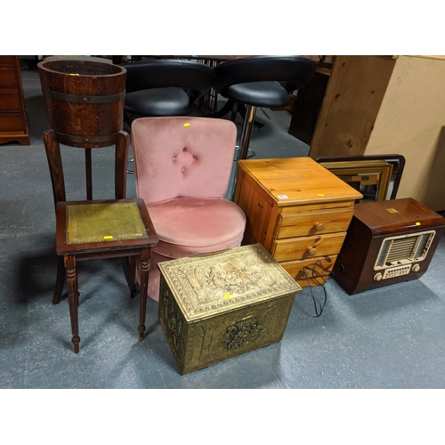 801 - A plant pot, nursing chair, brass box, two mirrors and a radiogram...