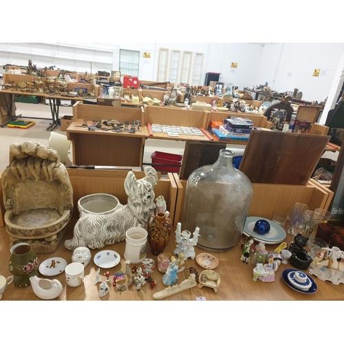1 - Large glass jar, plaster figures, china, glass, etc...
