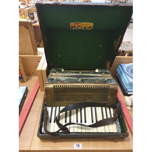 16 - A Soberano steel reeds piano accordian in case...