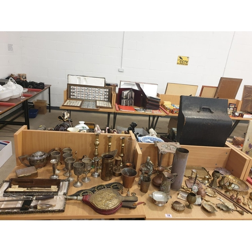 18 - A collection of brass and metalware...