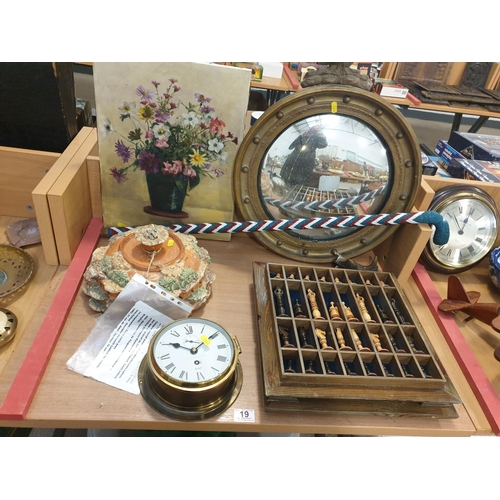 19 - A convex mirror, chess set, a brass sestrel, ships clock, etc...