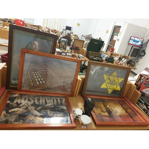 2 - Five German war related framed pictures and a cast iron Hitler bust...