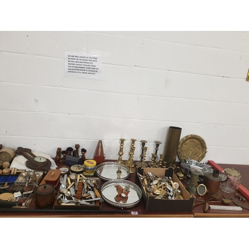35 - A quantity of metalware, treen and vintage items...