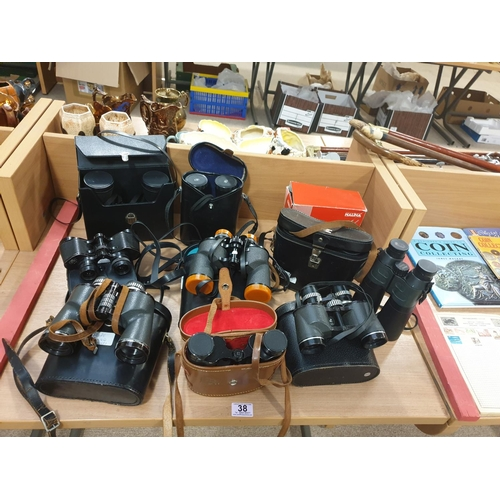 38 - Ten pairs of binoculars, some vintage, including Chinon, Carl Zeiss, etc...