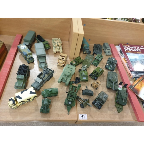 41 - A collection of Dinky and Corgi military vehicles...